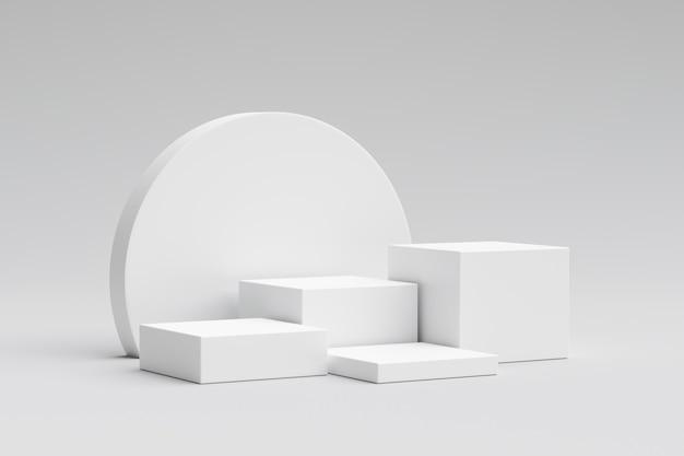 Présentoir de produit blanc ou piédestal de podium sur fond promotionnel avec des toiles de fond vierges. .