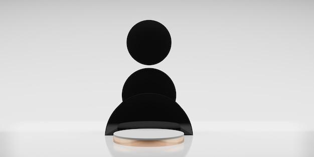 Présentoir de produit en or rose noir coupé fond blanc style minimaliste illustration 3d