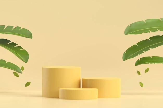 Présentoir de produit de plate-forme de podium jaune abstrait avec rendu 3d de feuilles de bananier