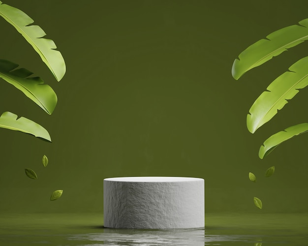 Présentoir de produit de plate-forme de podium en pierre abstraite avec rendu 3d de feuilles de bananier