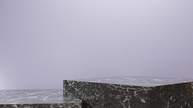 Présentoir de produit de rendu d'arrière-plan 3d fabriqué à partir d'étapes de base en marbre noir blanc minimal