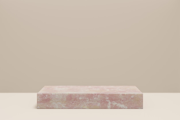 Présentoir de produits cosmétiques. blocs de marbre rose sur fond marron pastel. illustration de rendu 3d
