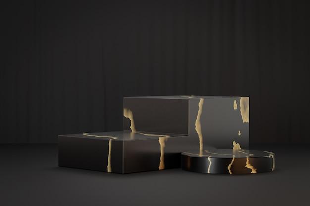 Présentoir de produits cosmétiques, podium de blocs d'or noir en marbre avec cylindre sur fond noir. illustration de rendu 3d