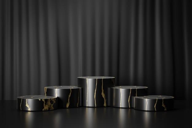 Présentoir de produits cosmétiques, podium à cinq cylindres en or noir sur fond noir. illustration de rendu 3d