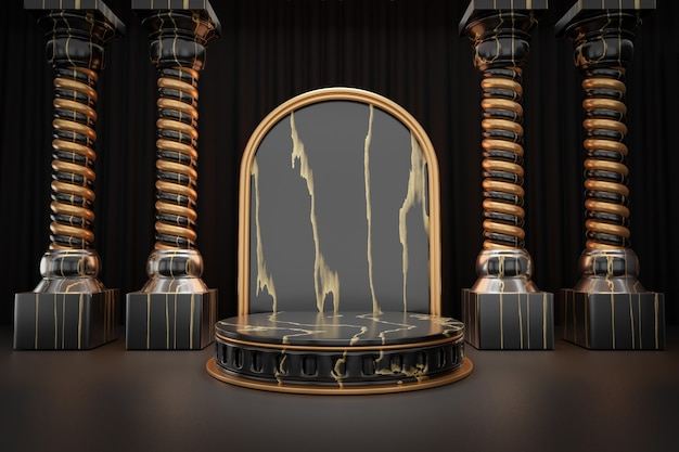Présentoir de produits cosmétiques, podium de cylindre en marbre romain en or noir avec colonne murale en arc sur fond noir. illustration de rendu 3d