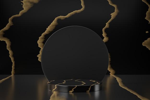 Présentoir de produits cosmétiques, podium de cylindre en or noir en marbre avec cercle noir sur fond noir. illustration de rendu 3d