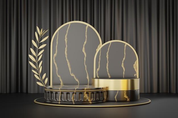 Présentoir de produits cosmétiques, podium de cylindre d'or noir en marbre romain avec feuille d'olivier d'or sur fond noir. illustration de rendu 3d