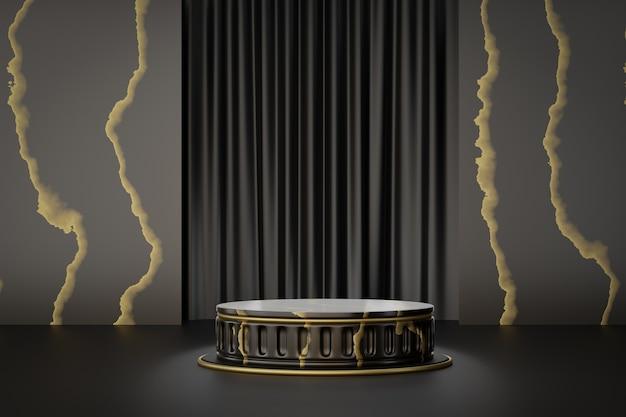 Présentoir de produits cosmétiques, podium de cylindre en or noir en marbre romain sur fond noir. illustration de rendu 3d