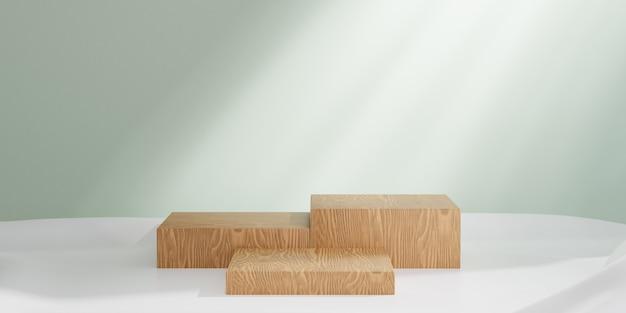 Présentoir de produits cosmétiques, podium de trois blocs de bois sur fond vert pastel. illustration de rendu 3d.