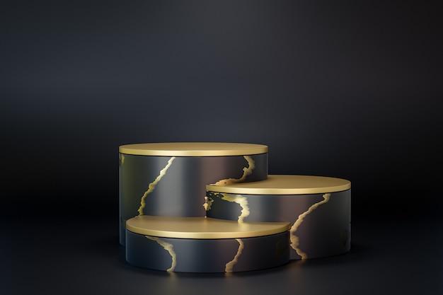 Présentoir de produits cosmétiques, podium à trois cylindres en or noir sur fond noir. illustration de rendu 3d