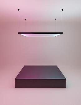 Présentoir de produits avec lampe néon carrée