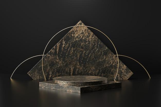 Présentoir de produits en marbre noir avec des formes géométriques. piédestal ou podium vide. rendu 3d.