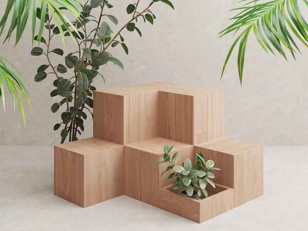 Présentoir de produits podium en bois avec des feuilles tropicales sur fond blanc