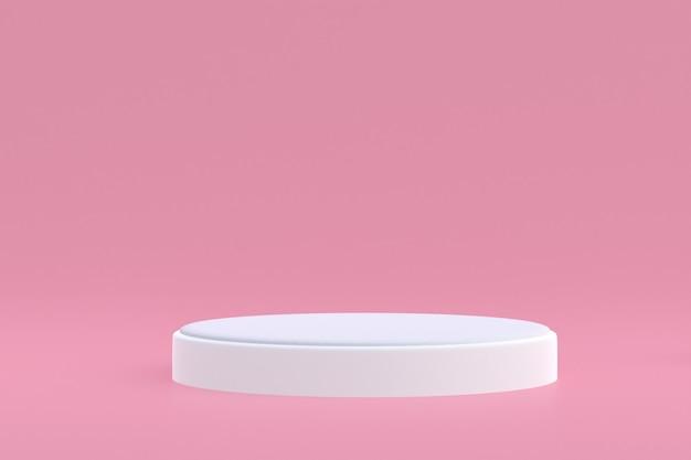 Présentoir de produits, podium minimal sur rose pour la présentation des produits cosmétiques.