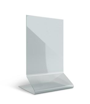 Présentoir de support de menu de support de table en acrylique transparent isolé avec des chemins de travail