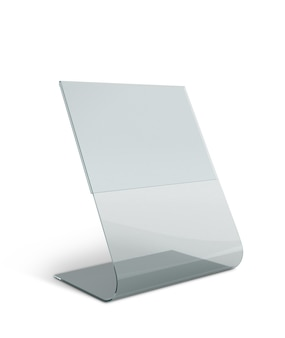 Présentoir de table en acrylique transparent pour menu en isolé avec des chemins de travail