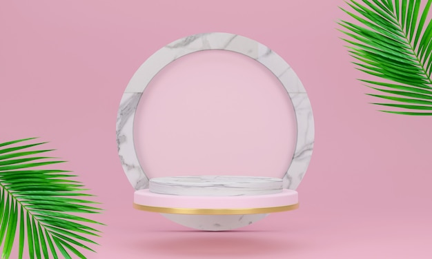 Présentoir ou vitrine en marbre et socle rose cercle géométrique et produit avec un palmier