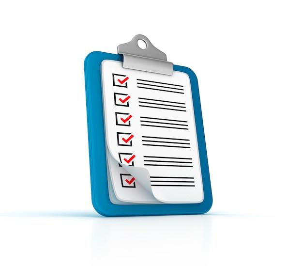 Presse-papiers de liste de contrôle 3d