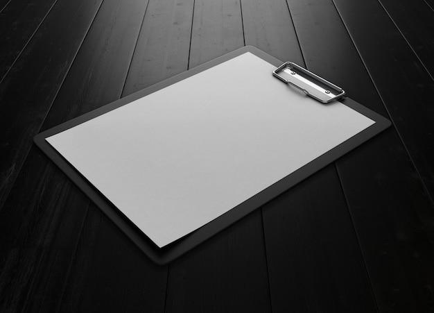Presse-papiers en plastique noir avec feuille de papier vierge sur un bois noir. 3d.