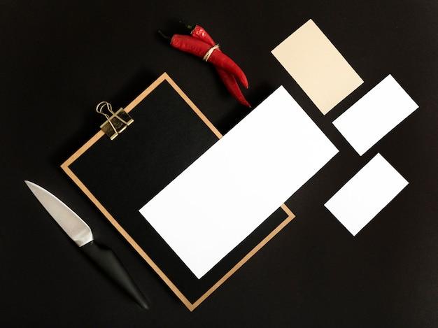 Presse-papiers vue de dessus avec espace copie