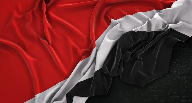 Principauté de sealand drapeau irrégulier sur fond sombre 3d render
