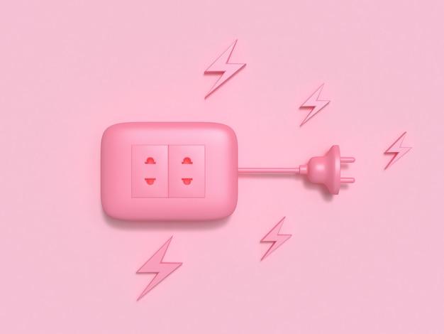 Prise de courant plat poser rose électricité technologie 3d rendu