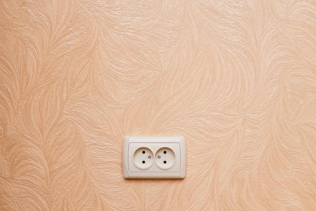Prise électrique européenne sur un mur recouvert de papier peint