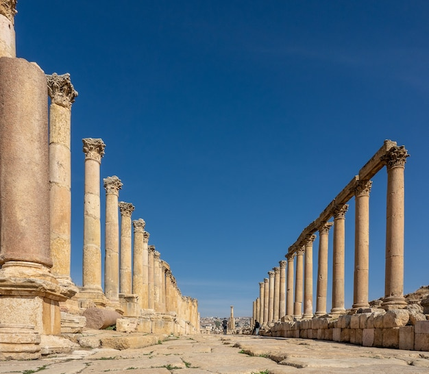 Prise de vue au grand angle d'une ancienne construction avec des tours en jordanie sous un ciel bleu clair