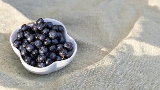 Prise de vue en grand angle de bleuets frais dans un bol blanc, sur un chiffon à l'extérieur