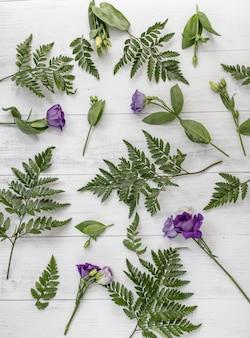 Prise de vue verticale à grand angle de fleurs de lisianthus violet et feuilles vertes sur une surface en bois