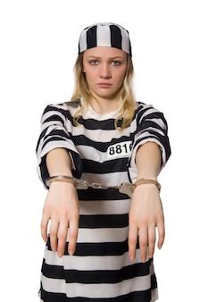 Prisonnier isolé sur le blanc