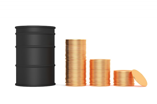 Prix bretn down concept. baril de pétrole noir et pièces d'or en argent. illustration 3d