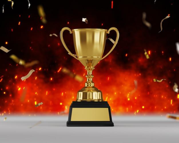 Prix du trophée d'or sur fond de feu.