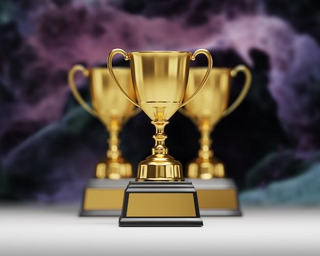 Prix du trophée d'or sur fond sombre.