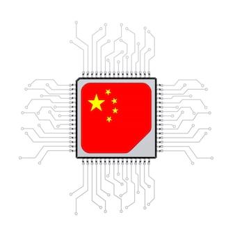 Processeur cpu microchip avec circuit et drapeau de la chine sur fond blanc. rendu 3d