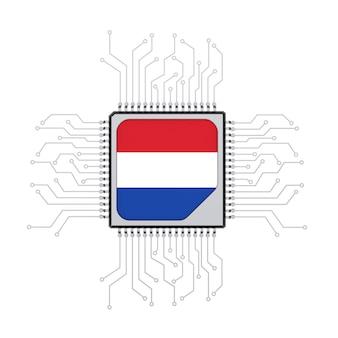 Processeur cpu microchip avec circuit et drapeau néerlandais sur fond blanc. rendu 3d