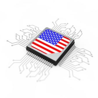 Processeur cpu microchip avec circuit et drapeau usa sur fond blanc. rendu 3d