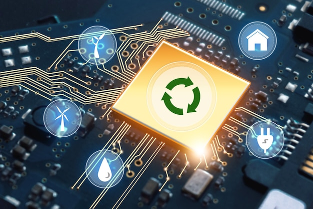 Processeurs informatiques centraux cpu.ordinateur quantique, traitement de données volumineux, base de données. technologie d'économie d'énergie verte renouvelable et concept de réchauffement climatique.
