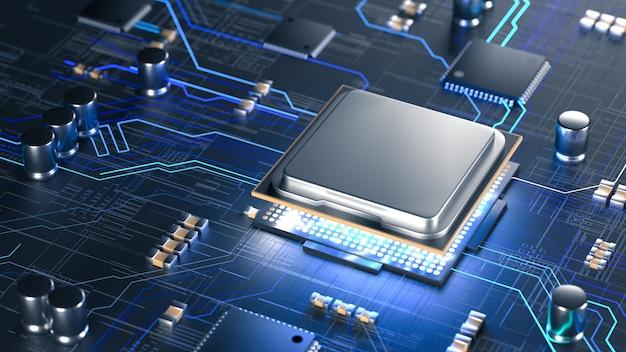 Processeurs d'ordinateur central cpu avec processeur mobile ai concept de carte de circuit