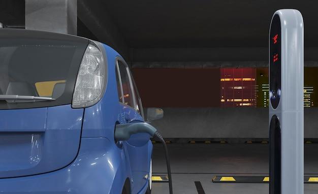 Processus de charge de voiture électrique 3d close up