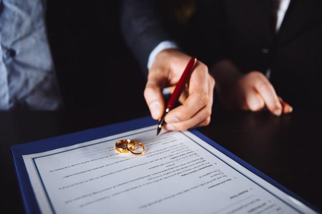 Processus de divorce. l'homme et la femme signent des documents en raison de leur rupture.