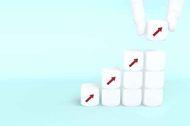 Processus de réussite de la croissance du concept d'entreprise, empilage de cubes à la main comme escalier sur fond bleu, espace de copie. rendu 3d