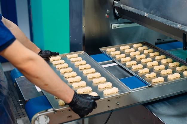 Production de biscuits sablés dans une usine de confiserie.