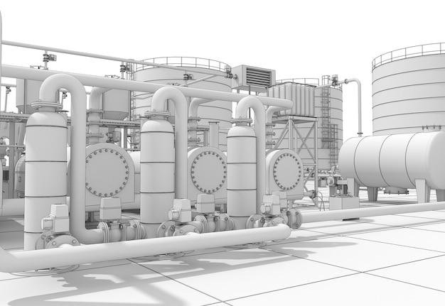 Production chimique, usine de traitement des déchets, visualisation extérieure