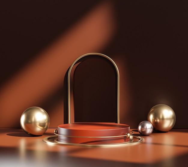Produit d'affichage de sphère d'or orange foncé de porte d'étape de podium de piédestal architectural classique rendu 3d