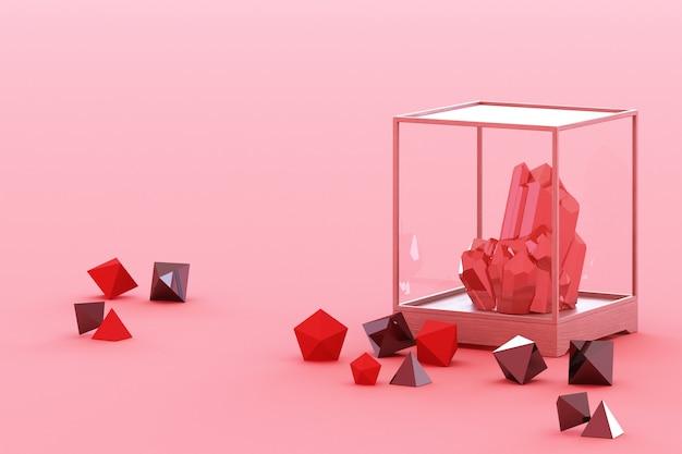 Produit de la formation de minéraux rouges minéraux quartz gemmes diamants rendu 3d