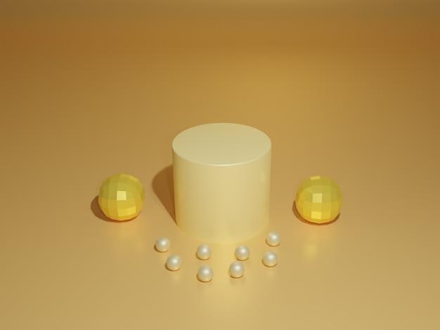 Le produit d'or de rendu 3d se tient avec des perles autour sur le fond d'or