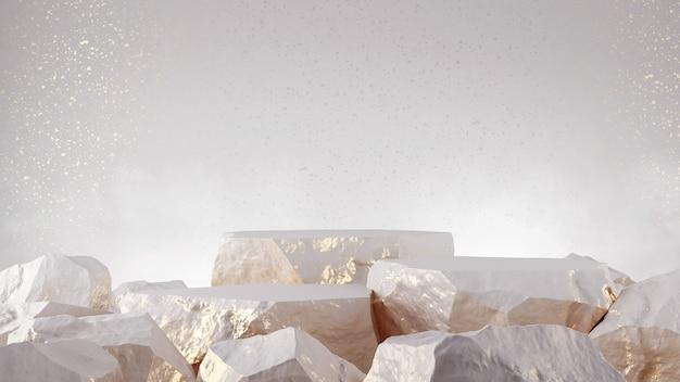 Produit vitrine pierre couleur or blanc rendu 3d