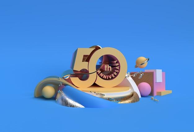 Produits D'affichage De Texte De Célébration Du 50e Anniversaire Faisant La Publicité De La Conception D'illustration De Rendu 3d. Photo Premium