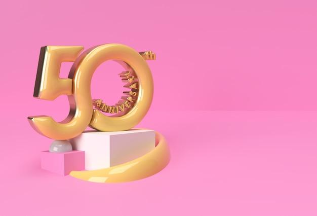 Produits d'affichage de texte de célébration du 50e anniversaire faisant la publicité de la conception d'illustration de rendu 3d.